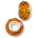 14x8mm Amber Faceted Large Hole Glass Bead with Grommet (1-Pc)