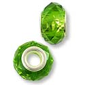 Faceted Large Hole Glass Bead with Grommet 14x8mm Peridot (1-Pc)