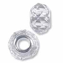 Faceted Large Hole Glass Bead with Grommet 8x13mm Crystal (1-Pc)