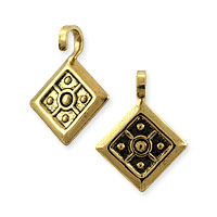 Mini Charm - Drop with Open Loop 13x10mm Antique Gold Plated (100-Pcs)