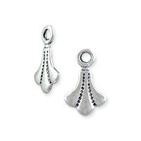 Mini Charm - Scalloped Drop with Loop 9.5x6mm Antique Sterling Plated (6-Pcs)