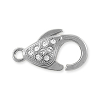 Lobster Claw Clasp with Crystals 20x11.5mm Rhodium Plated (1-Pc)