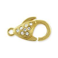 Lobster Claw Clasp with Crystals 20x11.5mm Gold Plated (1-Pc)