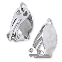 Clip-On Earring 19x10mm Silver Color (2-Pcs)