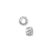 Corrugated Crimp Bead 1.5x2mm Silver Plated (100-Pcs)