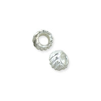 Corrugated Crimp Bead 2x3mm Silver Plated (10-Pcs)