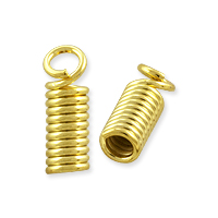 Spring Cord End Cap 11x4mm Gold Plated (10-Pcs)