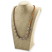 Terra Cotta Clay Bead Necklace Tan/Blue/White (1-Pc)