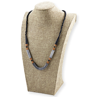 Terra Cotta Clay Bead Necklace Tan/Black/White (1-Pc)
