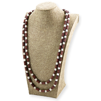 Terra Cotta Clay Bead Necklace Black/Brick Red/White (1-Pc)