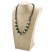 Terra Cotta Clay Bead Necklace Black/Green/White (1-Pc)