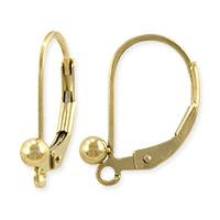 Lever Back Earring with Ball 16x12.5mm Gold Filled (1-Pc)