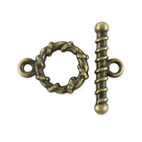 Spiral Toggle Clasp 11mm Antique Brass Plated (Set)