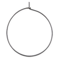 Hoop Ear Wires 30mm Antique Silver Plated (2-Pcs)