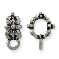 Large Hole Floral Bail 12x9mm Pewter Antique Silver Plated (1-Pc)