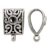 Glue-In Crystal Scrollwork Bail 14x9mm Pewter (1-Pc)