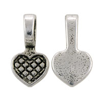 Glue On Heart Bail 15x8mm Pewter Antique Silver Plated (1-Pc)