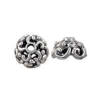 Radial Swirl Bead Cap 5x8mm Pewter Antique Silver Plated (1-Pc)