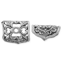 Rectangle End Cap 13x7mm Pewter Antique Silver Plated (1-Pc)