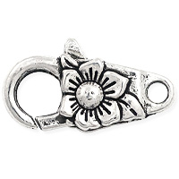 Flower Lobster Claw Clasp 24x14mm Pewter Antique Silver Plated (1-Pc)
