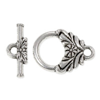 Flower Toggle Clasp 12mm Pewter Antique Silver Plated (1-Pc)