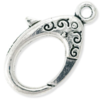 Scroll Lobster Claw Clasp 31x19mm Pewter Antique Silver Plated (1-Pc)