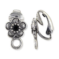 Cherry Blossom Clip-On Earring 16x9mm Pewter Antique Silver Plated (1-Pc)