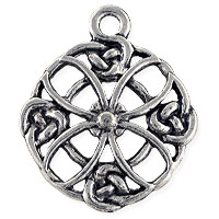 Celtic Filigree Quatrefoil Pendant 28x23mm Pewter Antique Silver Plated (1-Pc)