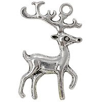 Rudolph Pendant 37x24mm Pewter Antique Silver Plated (1-Pc)