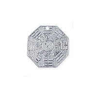 Feng Shui Bagua Pendant 29x29mm Pewter Antique Silver Plated (1-Pc)
