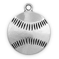 Baseball Pendant 19mm Pewter Antique Silver Plated (1-Pc)