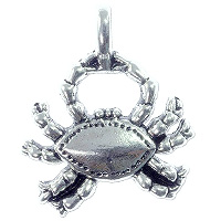 Crab Pendant 22x23mm Pewter Antique Silver Plated (1-Pc)