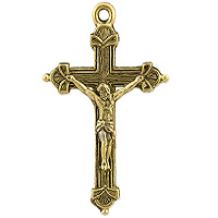 Crucifix Pendant 37x22mm Pewter Antique Gold Plated (1-Pc)
