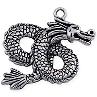 Dragon Pendant 46mm Pewter Antique Silver Plated (1-Pc)