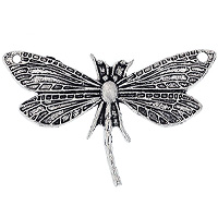 Dragonfly Pendant 30x48 Pewter Antique Silver Plated (1-Pc)