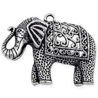 Elephant Pendant 48mm Pewter Antique Silver Plated (1-Pc)