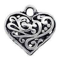 Puffed Filigree Heart Pendant 20mm Pewter Antique Silver Plated (1-Pc)