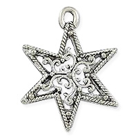 Filigree Star Pendant 22mm Pewter Antique Silver Plated (1-Pc)