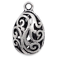 Puffed Filigree Teardrop Pendant 21x12mm Pewter Antique Silver Plated (1-Pc)