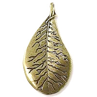 Leaf Pendant 56x29mm Pewter Antique Brass Plated (1-Pc)