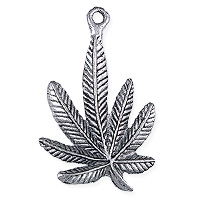 Marijuana Leaf Pendant 34mm Pewter Antique Silver Plated (1-Pc)
