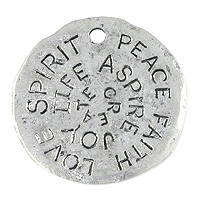 Message Disc Pendant 23mm Pewter Antique Silver Plated (1-Pc)