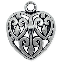 Puffed Heart Pendant 27x22mm Pewter Antique Silver Plated (1-Pc)