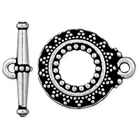 TierraCast Bali Style Toggle Clasp 16mm Pewter Antique Silver Plated (Set)