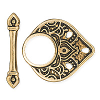 TierraCast Temple Toggle Clasp 22mm Pewter Antique Gold Plated (Set)