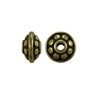 TierraCast Dotted Spacer Bead 7x4mm Pewter Oxidized Brass Plated (1-Pc)