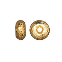 TierraCast Hammertone Rondelle Bead 7x4mm Pewter Bright Gold Plated (1-Pc)