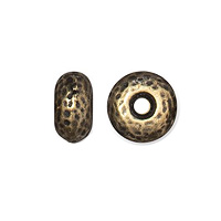 TierraCast Hammertone Rondelle Bead 7x4mm Pewter Oxidized Brass Plated (1-Pc)