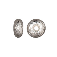 TierraCast Hammertone Rondelle Bead 7x4mm Pewter Bright Rhodium Plated (1-Pc)