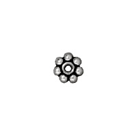 TierraCast Beaded Daisy Spacer Bead 3x1mm Pewter Antique Silver Plated (4-Pcs)